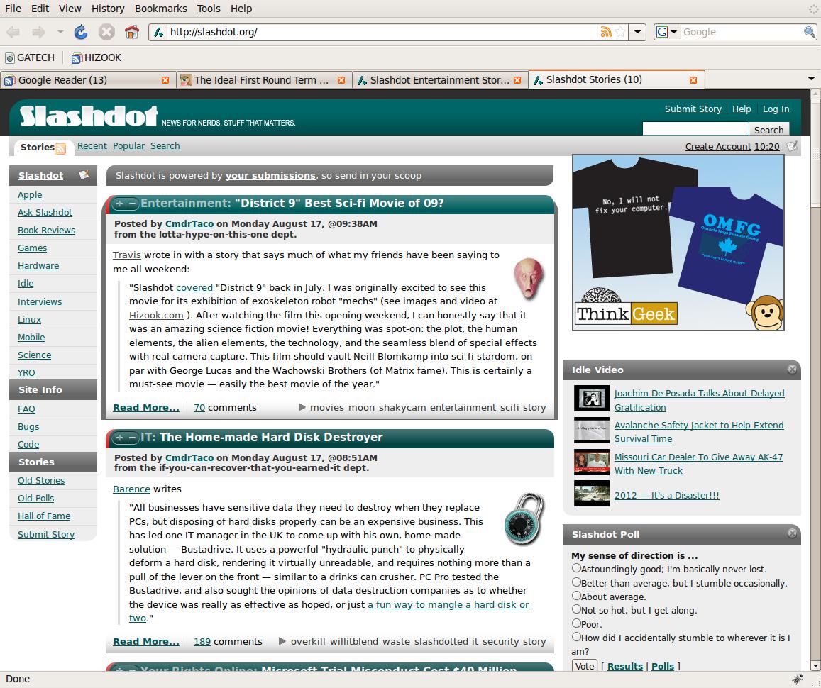 Hizook com on Frontpage of Slashdot, Reddit, Digg, Engadget, Hacker