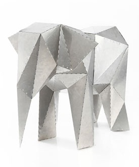 Elephant made from metal tiles