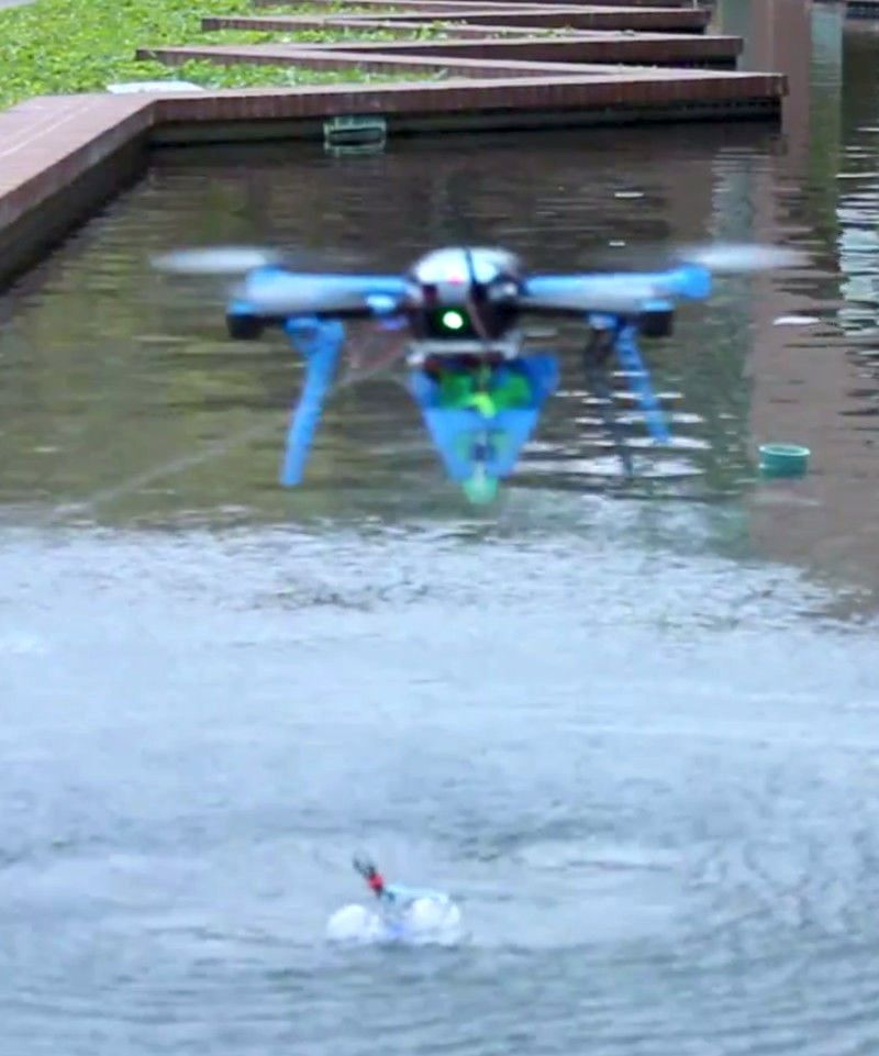 Drone reading sensor tag in water