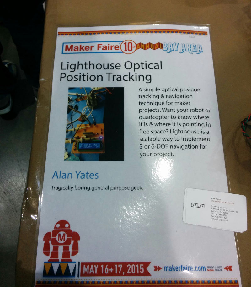 "Maker Faire Poster for Valve's ""Lighthouse"" tracking system"